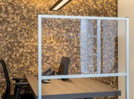 Mobiel Scherm Verrijdbaar Preventiescherm Spatscherm Kantoor Werkplek Corona COVID-19 Intermontage
