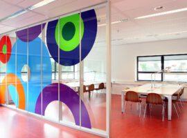 Systeemwand Terug Liggend Voeg Plint Glaswand Gesloten Wand Kantoor Intermontage