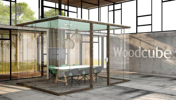WoodCube Intermontage Kantoorunit Vergaderruimte Kubus Glaswanden
