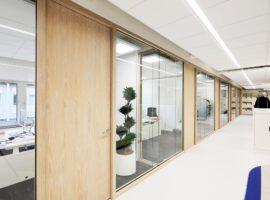 Woodframe Glaswand Houten Profiel Glazen Systeemwand Kantoor Intermontage